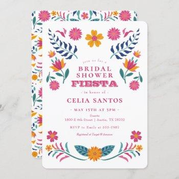 pink yellow mexican fiesta bridal shower invitation