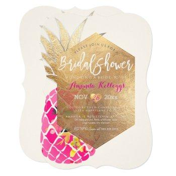 pixdezines aloha pineapple bridal shower+faux gold invitation