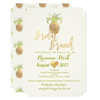 pixdezines bridal brunch/faux gold/pineapples card