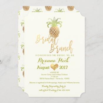pixdezines bridal brunch/faux gold/pineapples card