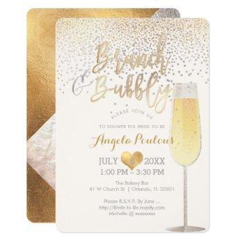 pixdezines brunch bubbly/faux silver+gold confetti invitation