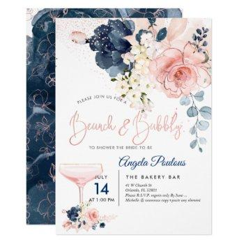 pixdezines brunch bubbly navy blush h2 flowers invitation