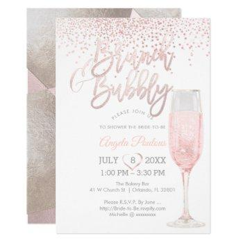 pixdezines brunch bubbly/pink+silver confetti invitation