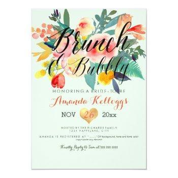 pixdezines brunch & bubbly spring floral/coral+min invitation