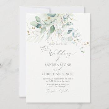 pixdezines faux gold watercolor eucalyptus wedding invitation