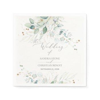 pixdezines faux gold watercolor eucalyptus wedding napkins