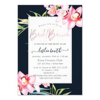 pixdezines orchid isle, bridal brunch navy+pink invitation