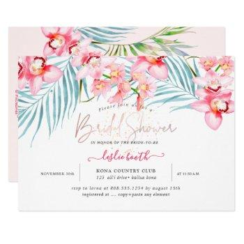pixdezines orchid isle, tropical bridal shower invitation