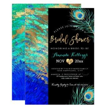 pixdezines peacock bridal shower+faux gold invitation