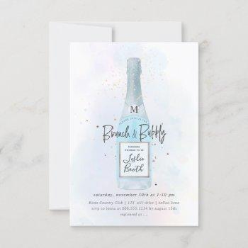 pixdezines watercolor blue champagne brunch bubbly invitation