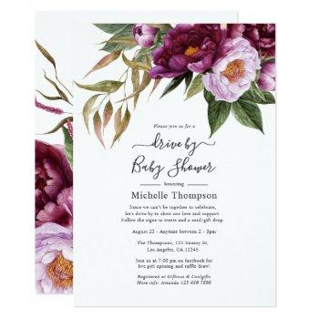 plum and pastel violet floral drive by shower invitation
