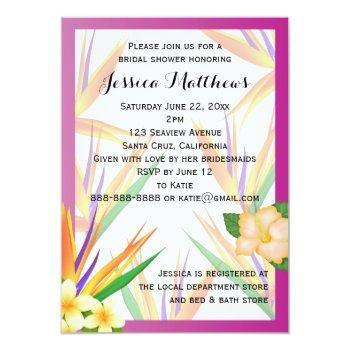 plum bird of paradise bridal shower wedding invitation