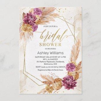 plum boho pampas grass geometric bridal shower invitation