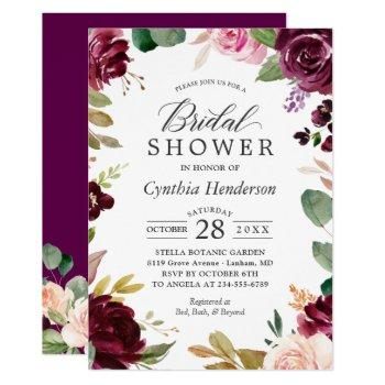 plum burgundy blush floral classy bridal shower invitation