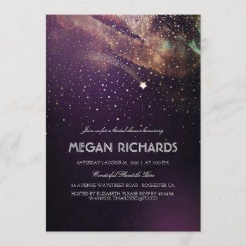 plum night gold shooting star bridal shower invitation