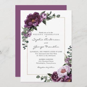 plum peonies wedding invitation card