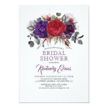plum purple and burgundy floral fall bridal shower invitation