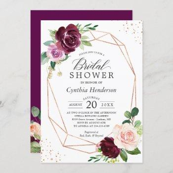 plum purple blush floral rose gold bridal shower invitation