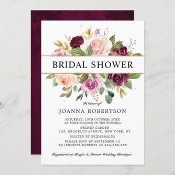 plum purple blush pink botanical bridal shower invitation