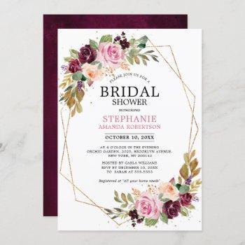 plum purple blush pink floral bridal shower invitation