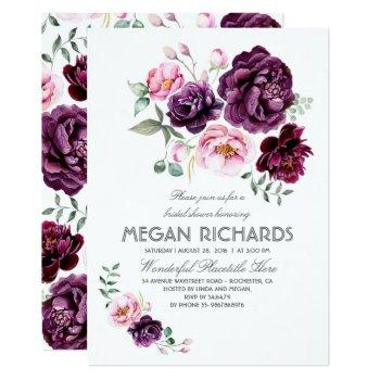 plum purple floral watercolor boho bridal shower invitation
