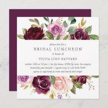 plum purple flowers fall floral bridal luncheon invitation