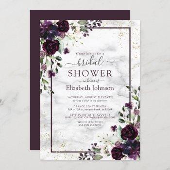 plum purple gold watercolor marble bridal shower invitation
