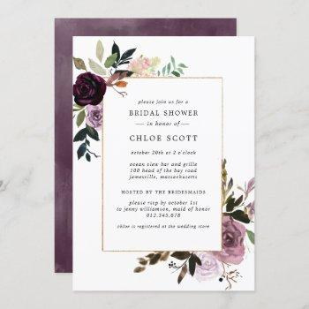 plum purple mauve pink floral bridal shower invitation