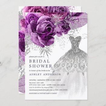 plum & silver floral wedding dress bridal shower invitation