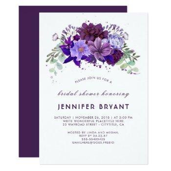 plum violet purple floral elegant bridal shower invitation