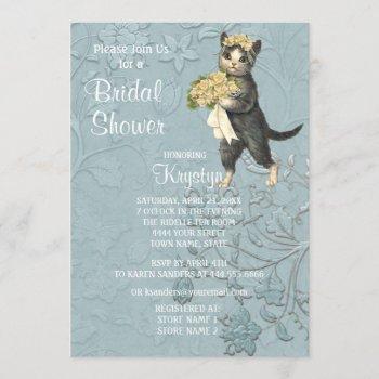 posh cats blue bridal shower invitation