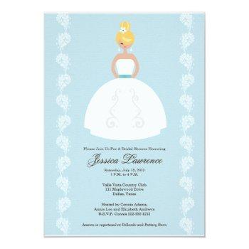 pretty blonde bride bridal shower invitations