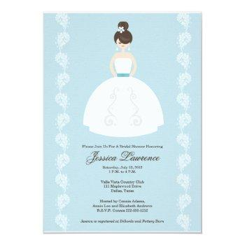 pretty brunette bridal shower invitations