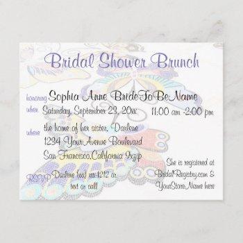 pretty butterfly bridal shower brunch invitation
