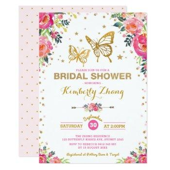 pretty butterfly watercolor floral bridal shower invitation