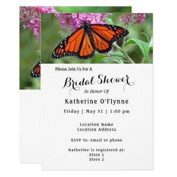pretty monarch butterfly pink floral bridal shower invitation