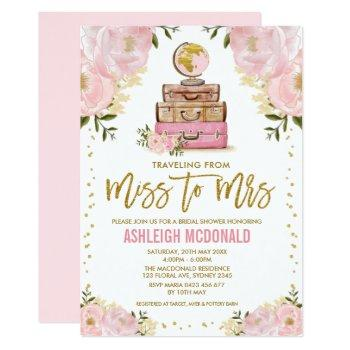 pretty pink gold travel adventure bridal shower invitation