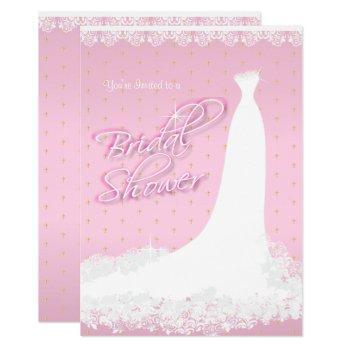 pretty pink satin religious bridal shower invitation