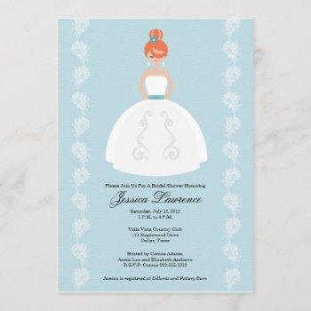 pretty redhead bridal shower invitations