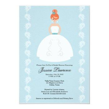pretty redhead bridal shower invitations