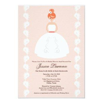 pretty redhead bridal shower pink invitations