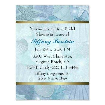 pretty sea shell themed bridal shower invitation