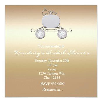 princess cinderella carriage champange invitation
