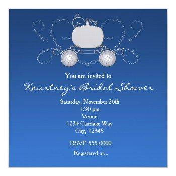princess cinderella carriage heart blue invitation