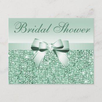 printed green sequins, bow & diamond bridal shower invitation