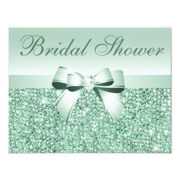 printed green sequins, bow & diamond bridal shower invitation