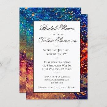 psychedelic splatter   rainbow abstract shower invitation