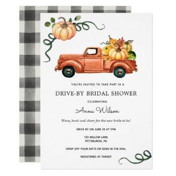 pumpkin autumn truck drive by bridal shower invitation