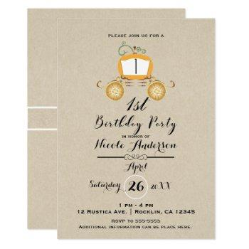 pumpkin carriage kraft 1st first birthday party invitation