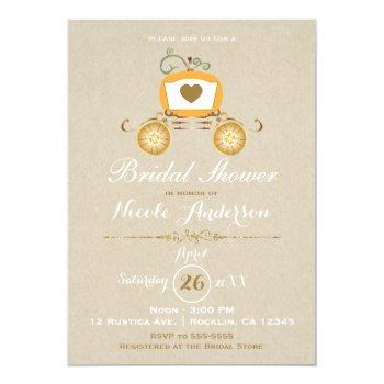 pumpkin carriage rustic fall kraft bridal shower invitation